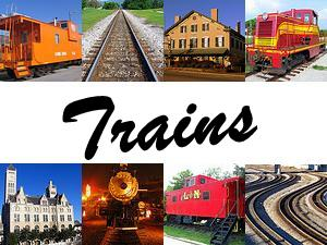 Train engines, cabooses, depots and tracks